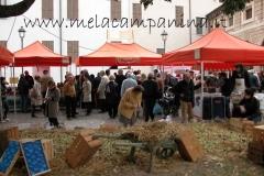 mela campanina;suggestiva immagine panoramica dell'esposizione annuale che si svolge presso il mercato contadino di Mantova